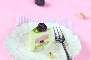 Pistachio Blackberry Mousse Cake