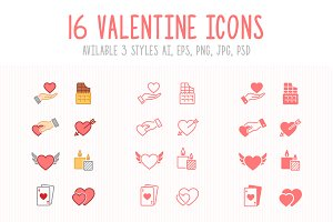 Set of 3 Styles Valentine Icons