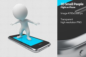 3D Small People - Flight on Phone