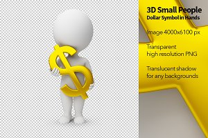 3D Small People - Dollar Symbol