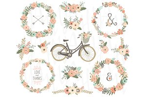 Floral Rustic Wreaths Bicycles