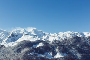 landscape with winter mountains