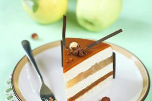 Apple Caramel Mousse Cake