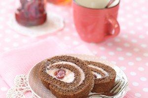 Chocolate Strawberry Swiss Roll