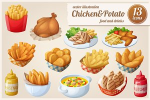 Chicken&Potato: Vector food icons
