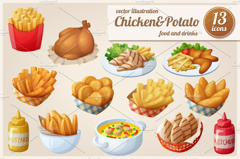 Chickenpotato Vector Food Icons Graphic Objects Creative Market