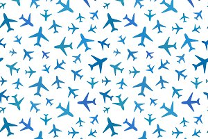 Blue planes on white pattern