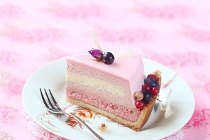 Piece of Berry Mousse Cake