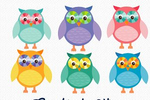 Colorful Owls CLipart