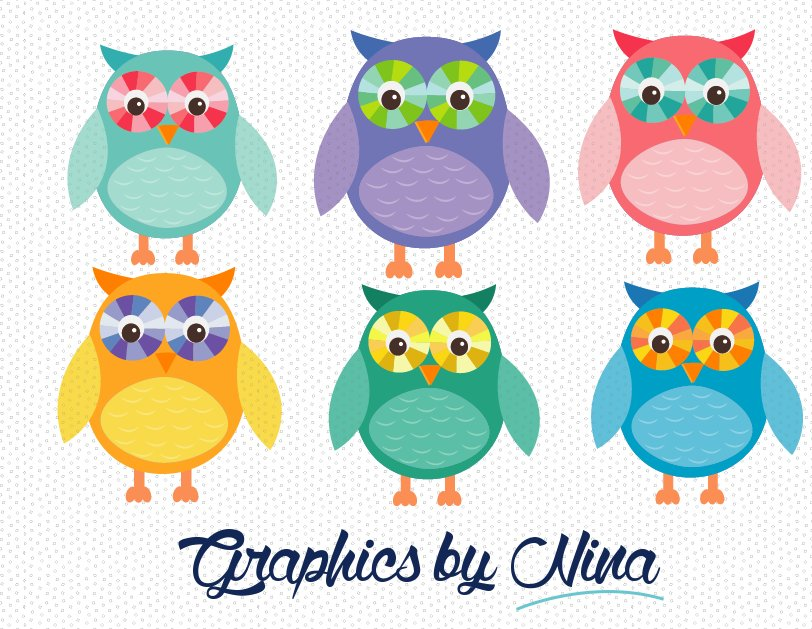 Colorful Owls Clipart Illustrations Creative Market