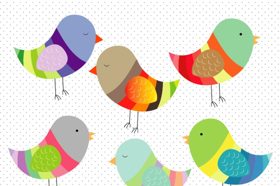 Birds colorful. Clipart