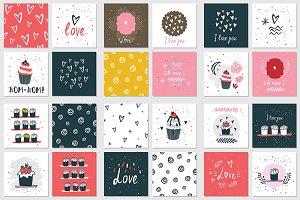 28 Valentines Day banner pattern set