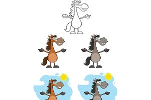 Horses Cartoon Characters Collection