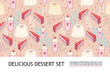 6 Delicious dessert seamless pattern