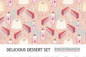 6 Delicious dessert seamless pattern