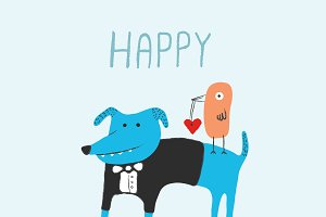 Dog and bird Valentines day card