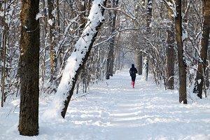 Running in a winter morning