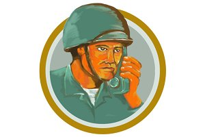 American Soldier Serviceman Calling