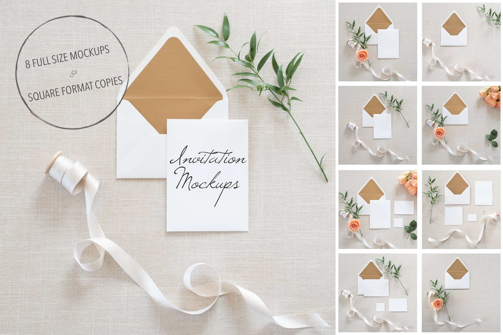 Wedding Invitation Mockups + PSD ~ Product Mockups ~ Creative Market