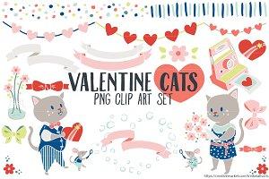 Valentine Cats Clip Art PNG