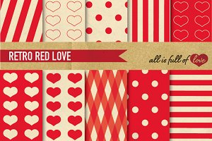 Red Background Vintage Patterns LOVE