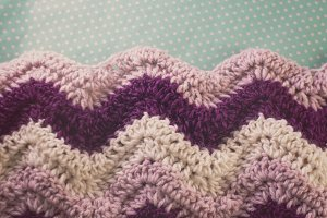 Purple and White Chevron Blanket