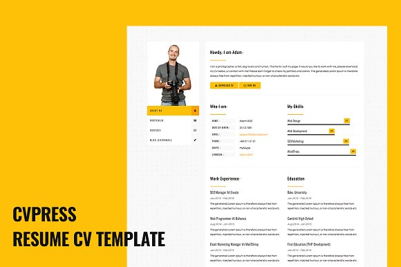 cvpress resume cv site template html css themes creative market