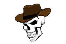 Cowboy skull in hat