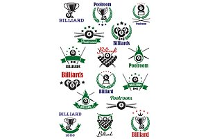 Billiards, snooker and pool emblems