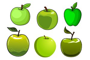 Fresh green apples fruits set