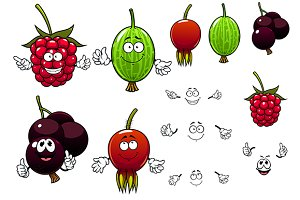 Cartoon berry fruits