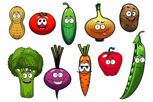 Healthy fresh cartoon vegetables