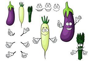 Eggplant, white radish, asparagus