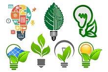 Light bulbs ecology icons