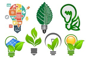 Light bulbs ecology icons