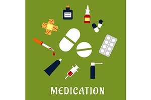 Pills, drugs and medical icons