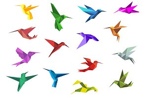 Flying origami hummingbirds