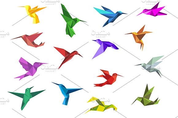 Flying Origami Hummingbirds Graphics Creative Market