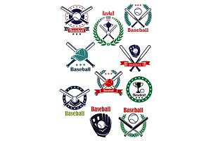 Baseball game retro emblems
