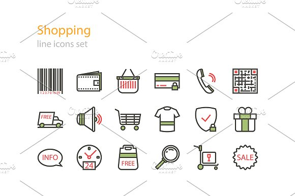 Line shopping icons in Graphics