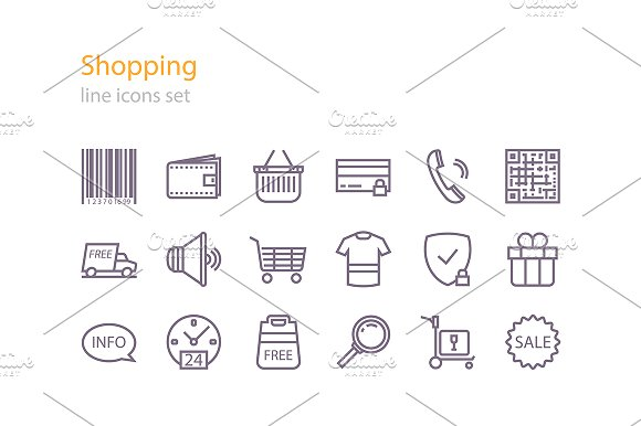 Line shopping icons in Graphics - product preview 1