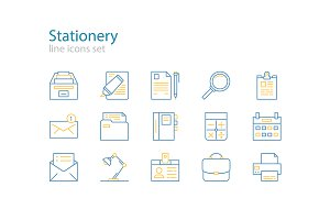 Office stationery line icons
