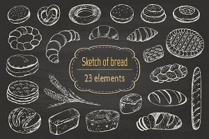 Sketch of bread and pastries.