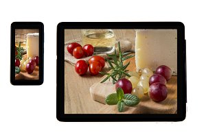 Photo cheese on tablet indoors