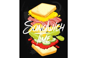 Sandwich on Chalkboard
