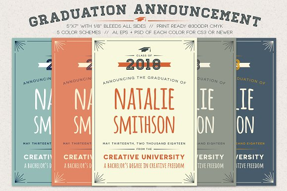 graduation announcement invitation templates creative market