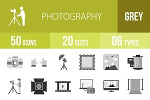 50 Photography Greyscale Icons