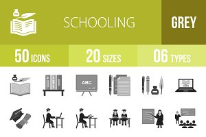 50 Schooling Greyscale Icons