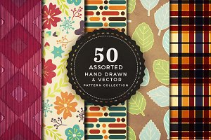 50 seamless hand drawn patterns