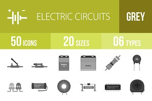 50 Electric Circuits Greyscale Icons